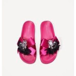 Zara Pink Feather Slides